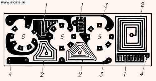 Печатная схема: 1 - конденсаторы; 2 - катушки индуктивности; 3...